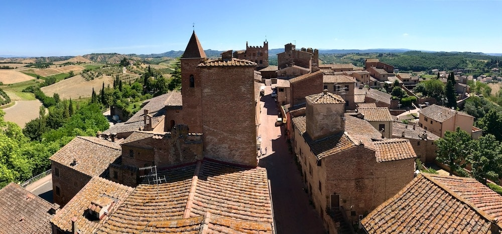 Certaldo, Tuscany, Italy aerial view from the top of tower