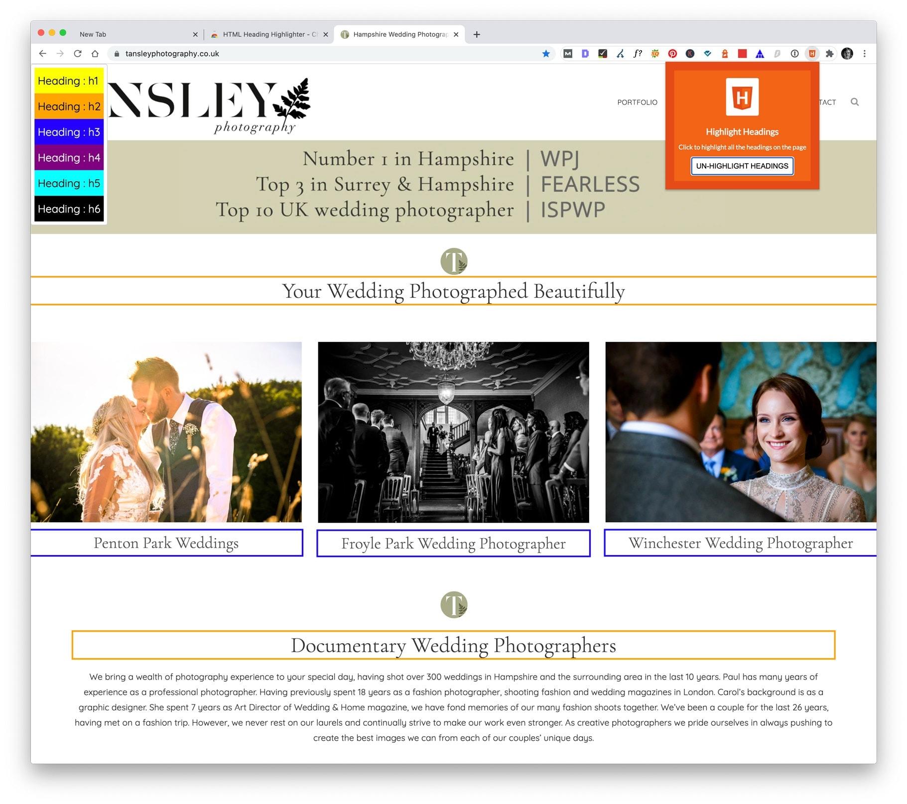 Highlight Headings Chrome Extention screenshot
